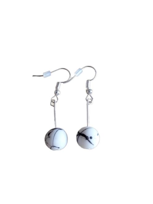 Sterling silver/silver plated splatter bead drop earrings