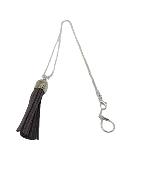Silver plated leather tassel necklace/chain