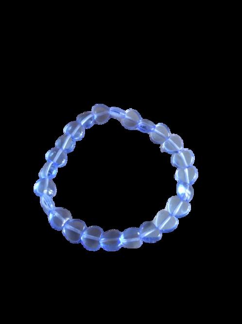 Blue sapphire glass bead heart bracelet