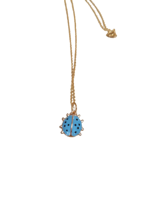 Gold plated blue ladybird chain/pendant/necklace