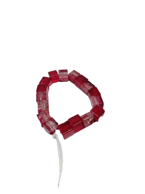 Red glass cube bead stretch bead bracelet