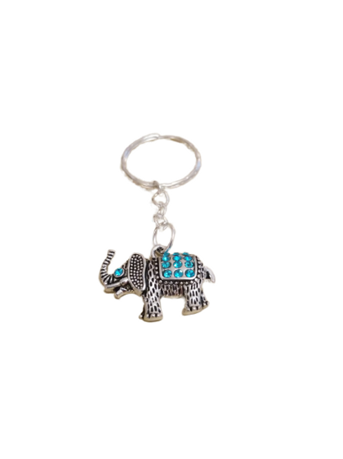 Silver plated sparkly elephant keyrings