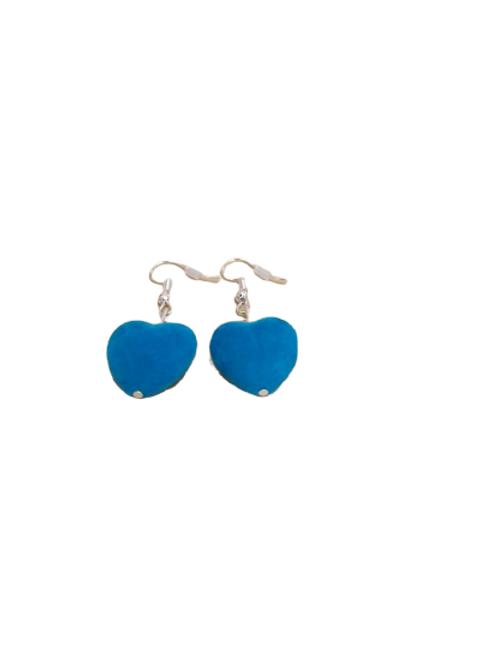 Silver plated/sterling silver felt heart drop earrings