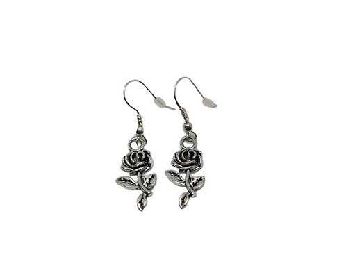 Silver plated/sterling silver rose earring