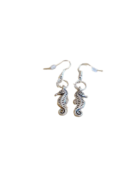dark silver plated seahorse earrings