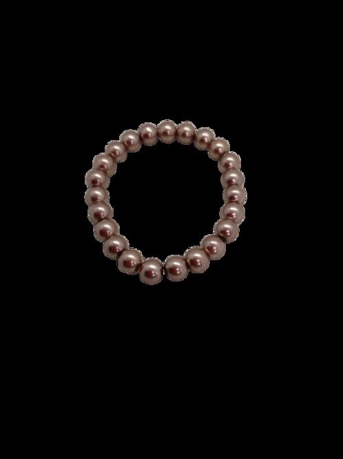 faux pearl bracelet, brown bead bracelet, cream bracelet,