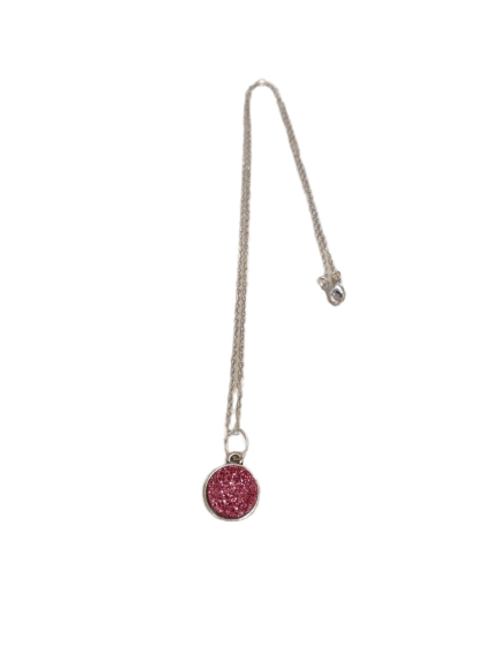 Silver plated pink druzy necklace