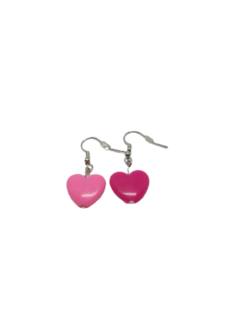 Silver plated/sterling silver odd pink earrings