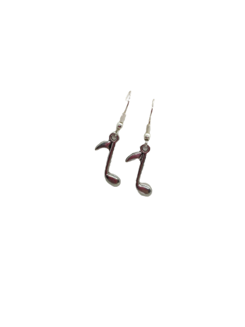 music earrings/silver plated note earrings/musical notes/musician/quaver note