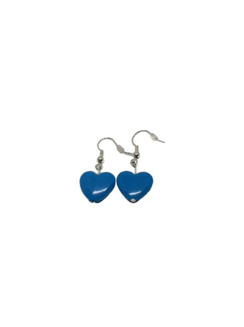 Silver plated/sterling silver pink, green, blue, and odd pink heart earrings