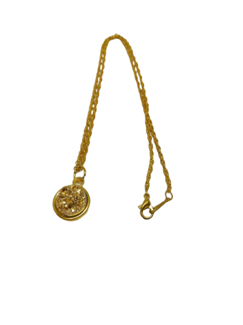 Gold plated brown druzy chain/necklace