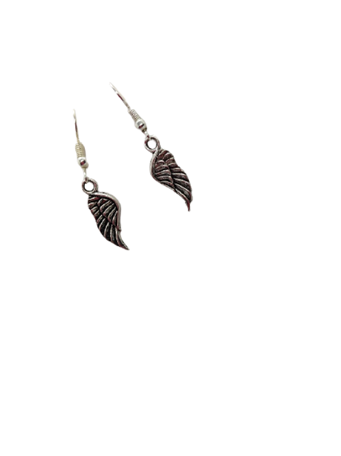 Angel earrings/silver plated/sterling silver/spiritual drops/wings/gifts for her