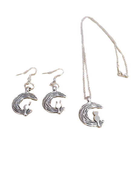 Silver plated Cat and Moon necklace and earring set