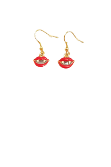 Gold plated red lip fang earrings