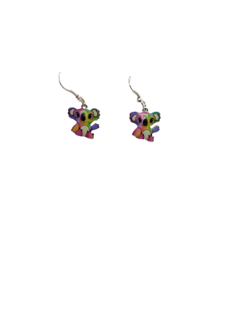 silver plated koala earrings/coloured drops/animal earrings/australian animal/an