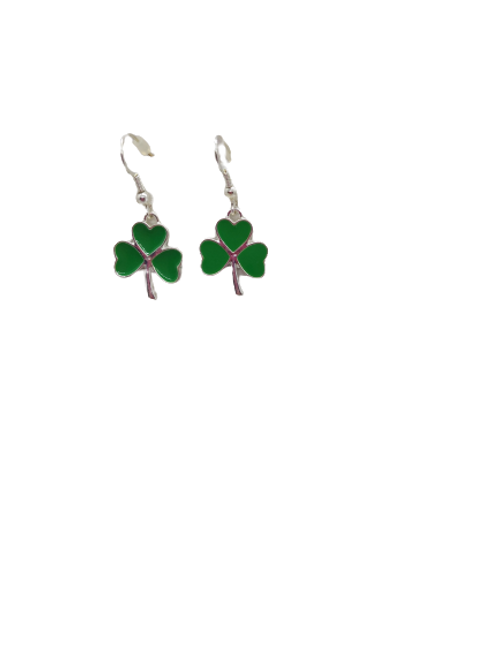 silver plated shamrock earrings/St Patrick's Day/Irish drops/sterling silver