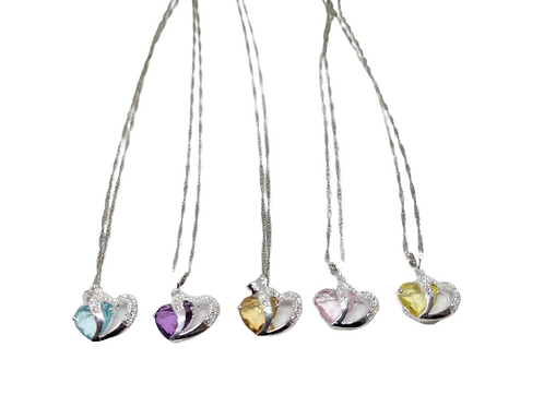 Silver plated chain/necklace with 925 sterling silver double hearts