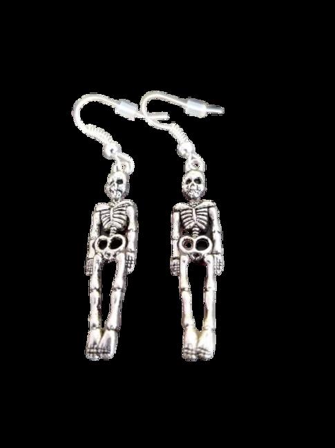 Sterling silver/silver plated skeleton drop earrings