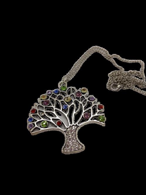 silver plated tree/diamante pendant/nature necklace/multi-colour/sparkle