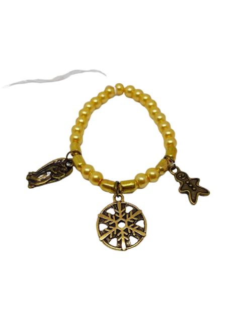 Bronze plated charm yellow beaded stretch winter/christmas bracelet