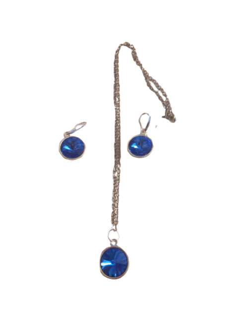 silver plated blue rivoli necklace and earring set