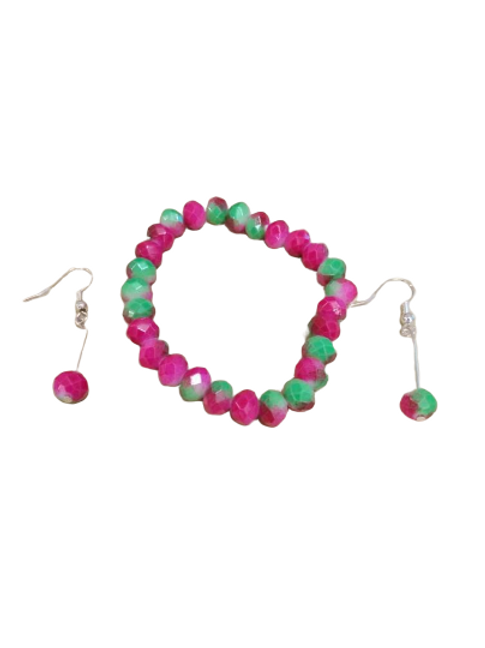 Neon pink and green beaded stretch bracelet and earring jewellery set