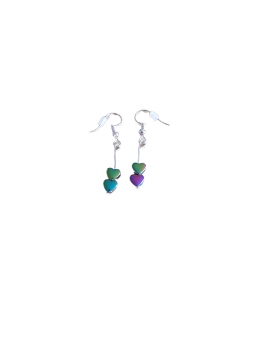 Silver plated/sterling silver rainbow heart beaded earrings