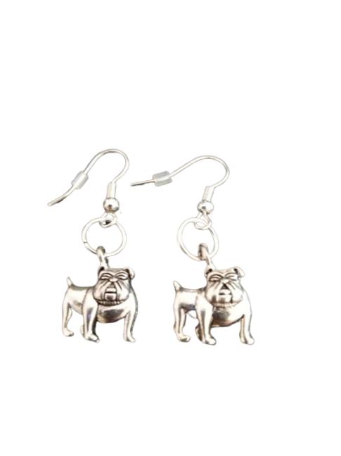 Sterling silver plated bulldog drop earrings