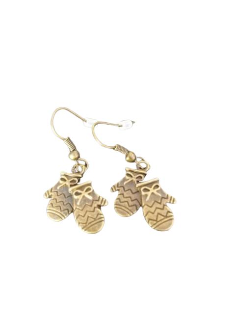 Bronze plated glove earrings