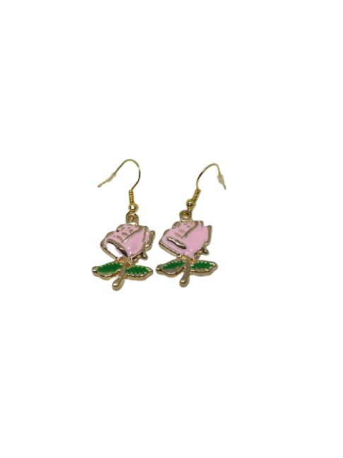 Gold plated pink rose earrings