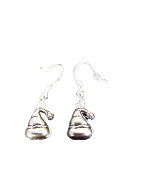 Silver plated/sterling silver santa hat earrings