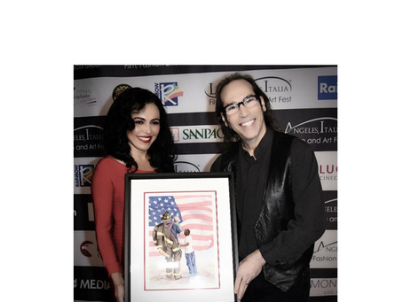 ACTRESS SANDRA SANTIAGO GIVES AWAY A PAINTING BY FINE ARTIST POMM HEPNER.