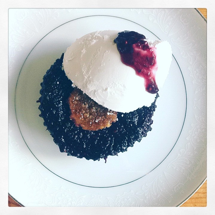Mini Mulberry Pie (GF/V) with coconut cream and mulberry drizzle :) Seasons past never tasted so good!