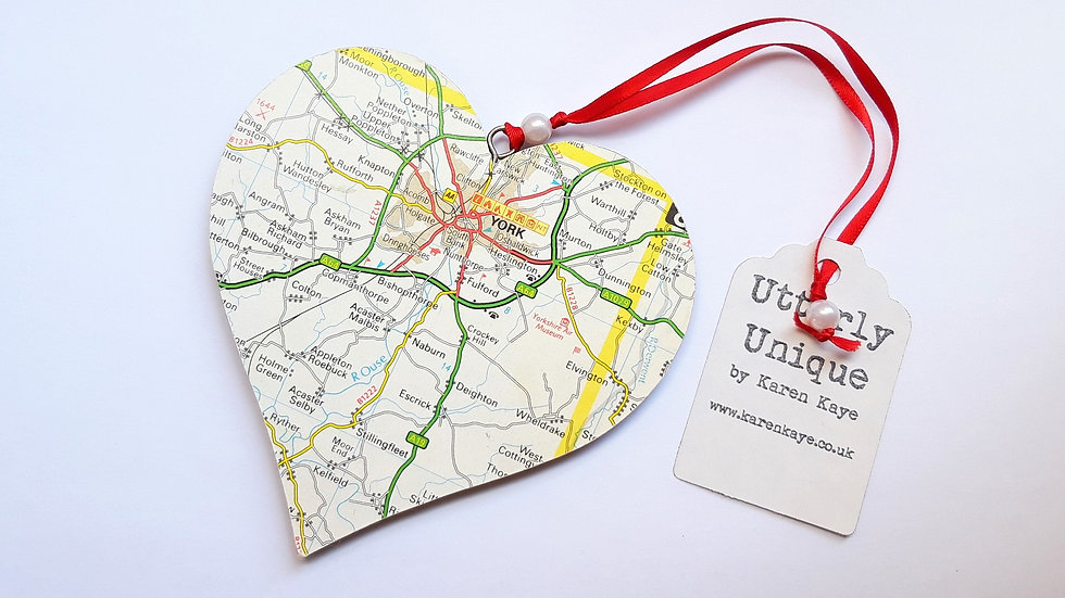 Hanging Map Heart