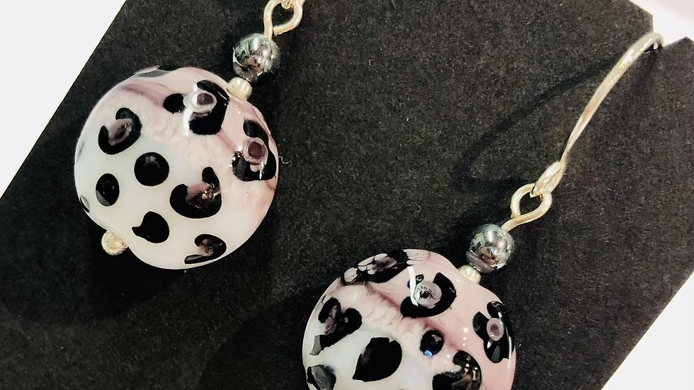 Leopard design glass bead earrings
