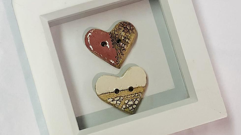 Framed Heart ceramic buttons