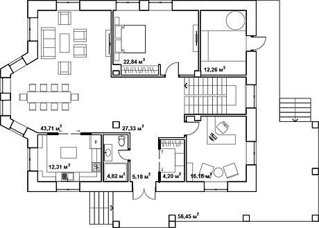 Двухэтажный жилой дом план
