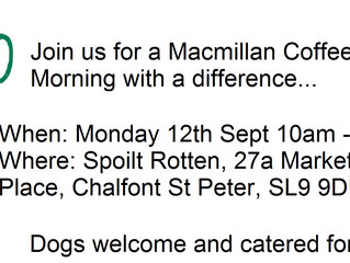 Mon 12th Sept Macmillan Coffee Morning with a difference...