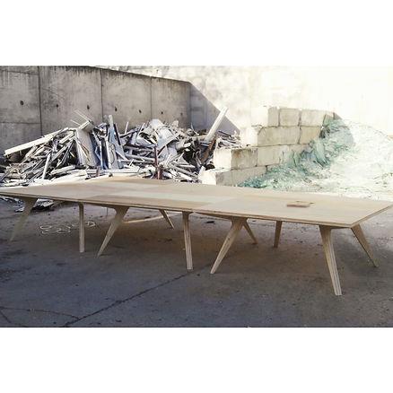 Table conseil réunion bois Upcyclé L'Unesco - Atelier Extramuros