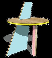 Ligne MEMPHIS - Table bois design Upcyclé  - Atelier Extramuros