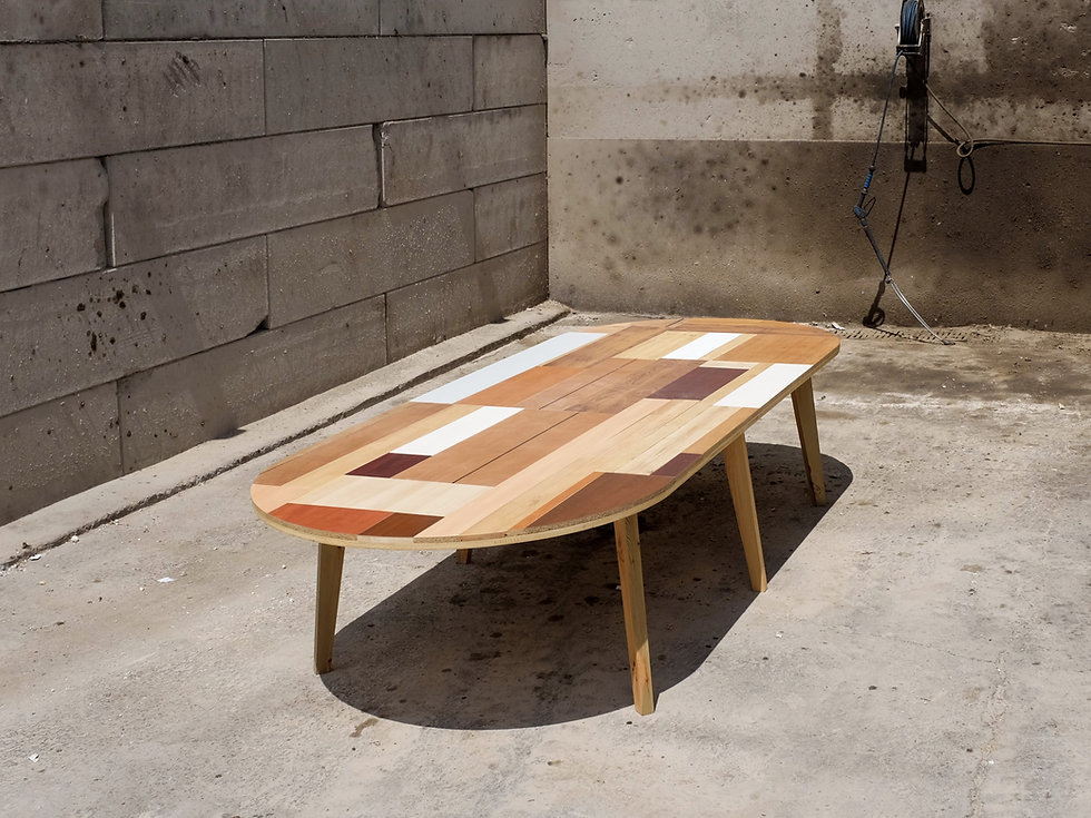 Table bois réunion design Upcyclé Veolia - Atelier Extramuros