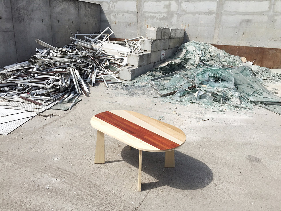 Table réunion bois Upcyclé L'ameublement français - Atelier Extramuros
