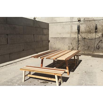 Table et banc bois Upcyclé Atelier - Atelier Extramuros