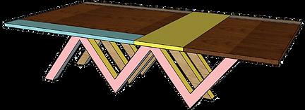 Ligne MEMPHIS - Table réunion bois design Upcyclé  - Atelier Extramuros