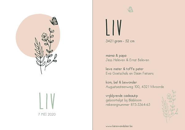 Je vindt hier een Scandinavisch, zomers geboortekaartje met een bosje bloemen, een vlinder en een oud roze maan in fijn, groen lijnwerk.