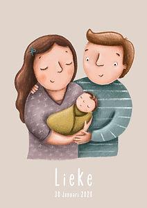 #geboortekaartje #babykaart #gezin #geboortekaartjemetgezin #mamapapakind #mamapapababy #portret #illustratie #birthcard #geboortekaartjefamilie #birthcardfamily #lieke #roze #ouderoze