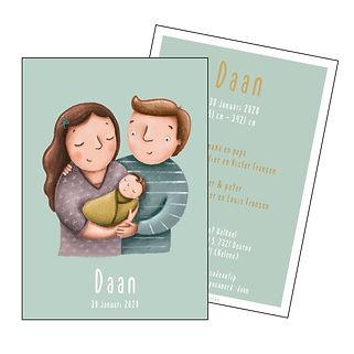 Je vindt hier een geboortekaartje met een gezin; mama, papa en baby op een blauw groene achtergrond. De geboortekaartjes zijn ontworpen door illustrator Karen Vandelaer.