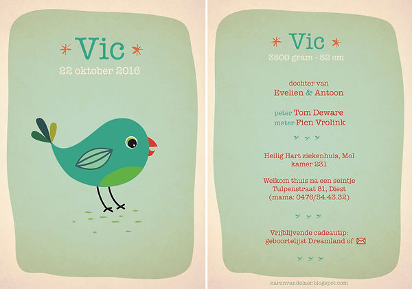 Je vindt hier een geboortekaartje met een kleurrijke, blauwe turkuoise vogel. Vrolijk, kleurrijk geillustreerd kaartje - grote versie