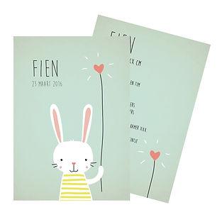 Je vindt hier een geboortekaartje met een lief konijntje met een hartjes ballon op een mintkleurige achtergrond. De geboortekaartjes zijn ontworpen door illustrator Karen Vandelaer.
