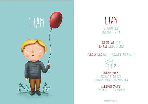 Je vindt hier een geboortekaartje met een schattig jongetje met een rode ballon. Eigen ontwerp - grote versie